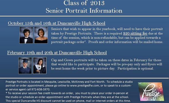 2012 Senior Portrait dates set for Oct. 15-16