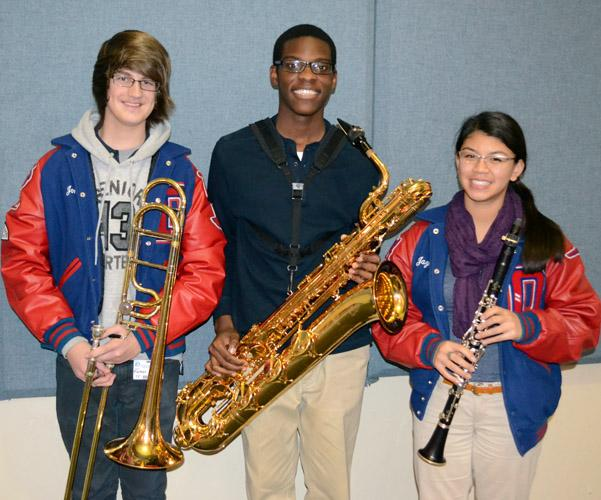 Seniors+John+Parker%28Trombone%29%2C+Derron+Hollingsworth%28Baratone%29+and+Jazmine+Yuen%28Clarinet%29+were+selected+as+part+of+the+All-State+Band+which+will+play+in+a+concert+Feb.+13-14+in+San+Antonio.+%28Morgan+Montgomery+photo%29