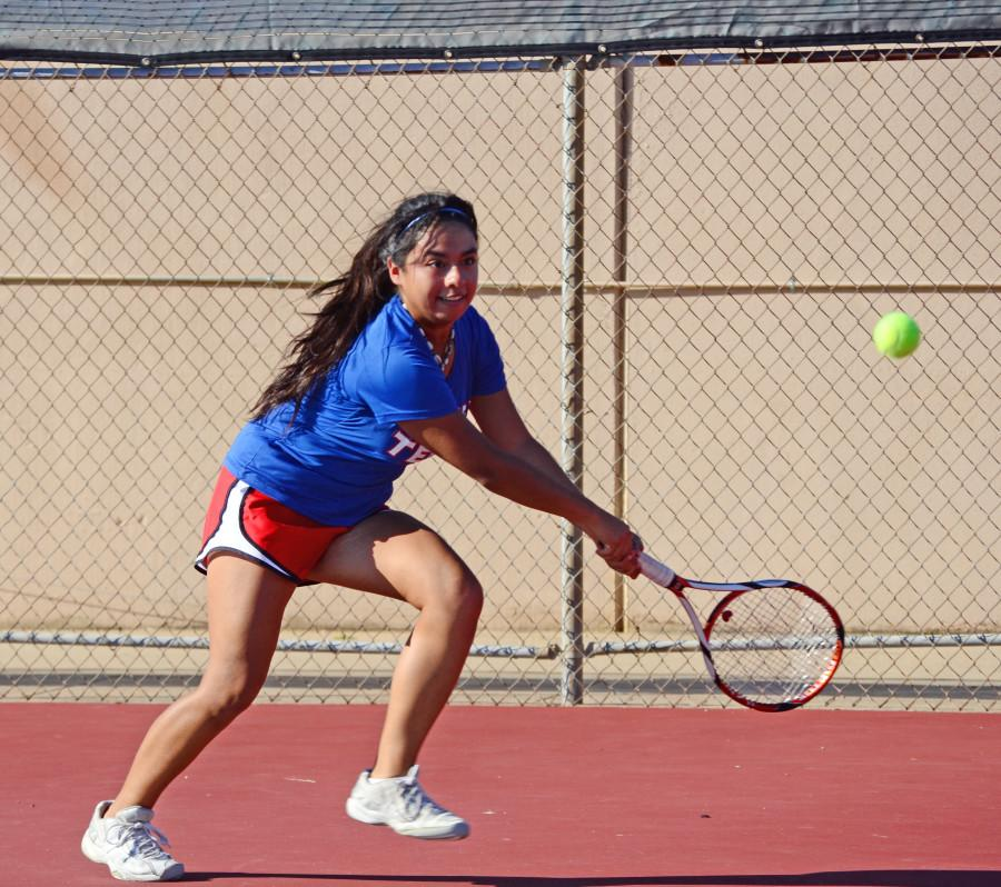 Senior Rebecca Vega goes for the ball in a match against Cedar Hill. (Karla Estrada photo)