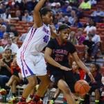 Sophomore Ciera Johnson blocks San Antonio Wagoner's Kaelynn Wilson in the lane during thei third quarter of their 80-57 win. (Karla Estrada photo)