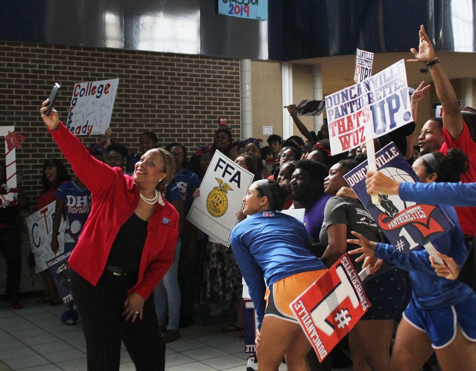 New building principal Tia Simmons was at the beginning and end of the lipdub showing her Panther Pride. (Ruth Thunderhawk photo)