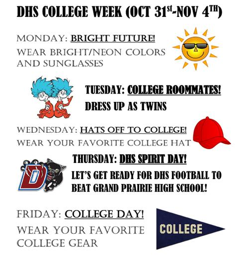 College Week dress up days.