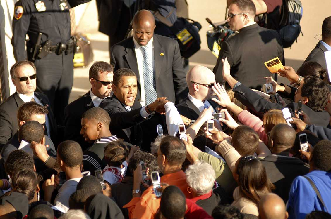 President Barak Obama shook hands with those in attendance at his rally in Panther Stadium during his run for the first term as President. (Panther Prints file photo)