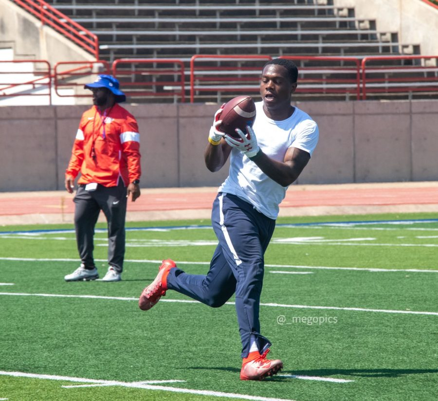 Roderick Daniels catching passes during summer workouts at Panther stadium.