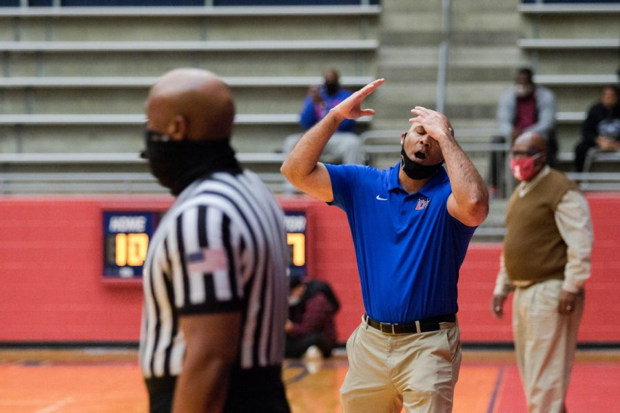 Head coach David Peavy reacts to a bad call during the game against Waco high school