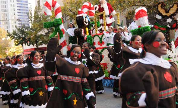 The High Hats have marched in the annual Adolphus Children's Christmas parade for multiple years in the past.  Here, they march as Gingerbread Women.