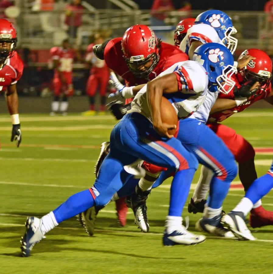 Panther+quarterback+Aaron+Piper+turns+the+corner+around+a+tough+Cedar+Hill+defense.+%28Olivia+Davila+photo%29