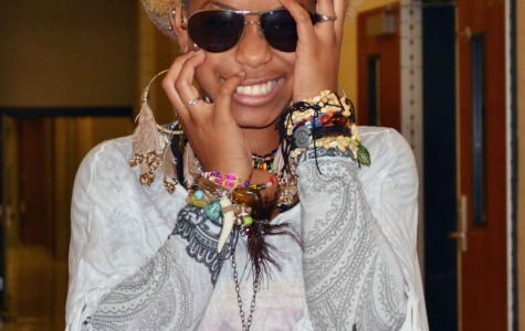 Senior Amira Johnson makes everything about fashion.  During the Homecoming Retro Spirit day she came to school wearing the fashion of the day for the years past. (Sheila Gonzalez photo)