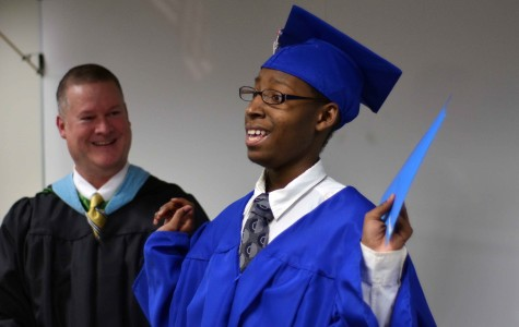 Deuntae Pegues gives a shout out to all those who helped him obtain his diploma from Duncanville.  He moved to PACE learning center after being diagnosed with a brain tumor that affected his motor skills. He recently graduated with his classmates from PACE. (Xavier Goode photo)