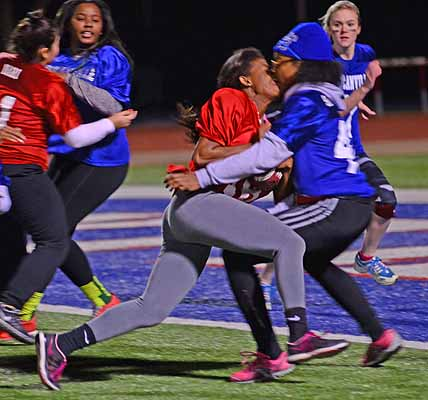 The juniors were stopped on the one yard line four times giving up the all to the seniors for the last two minutes of the powder puff game. (Olivia Davila photo)