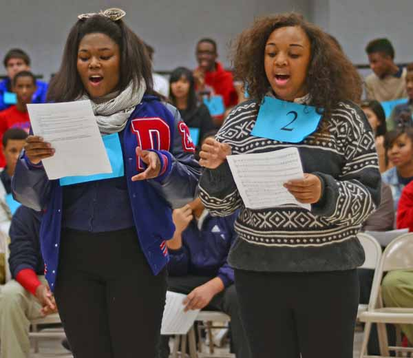 Students had to sing and dance for the 'Footloose' tryouts. (Chrystal Rhone photo)