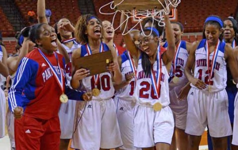 Junior Tasia Foman and her team celebrate a second straight State Championship at Frank Erwin Center in Austin. (Ariana Canchola photo)