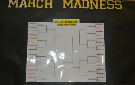 The March Madness board is narrowing down in the library for the battle of books. (Chrystal Rhone photo)