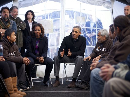 President Obama and the First Lady visit the protesters.