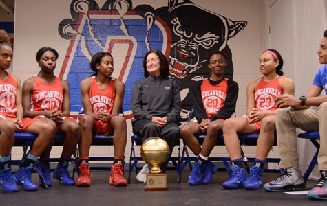 Myles Delgado sits down with Pantherettes seniors and Coach Cathy Self Morgan. (Karla Estrada photo)