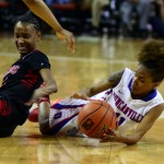 Senior Keyana Smith fights for the ball against a San Antonio Wagner defender under the basket in the Panterettes 80-57 win in the State Semi Finals game. (Leenolia Robinson photo)