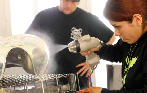 Auto Collision students experiment with new chroming technology