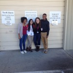 Student Council standing outside Outreach before they donate their items.