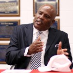 Former Skyline coach Reginald Samples lays out his plan for the Panther football program after being introduced as the new head football coach for the Duncanville Panthers. He comes from Dallas ISD where he has compiled a record of 100-22 with 19 playoff game appearances in six seasons. (Karla Estrada photo)