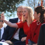 Governor Gregg Abbot's Daughter Audrey snaps a selfie as they ride through Austin during the Inaugural Parade. (Karla Estrada Photo)
