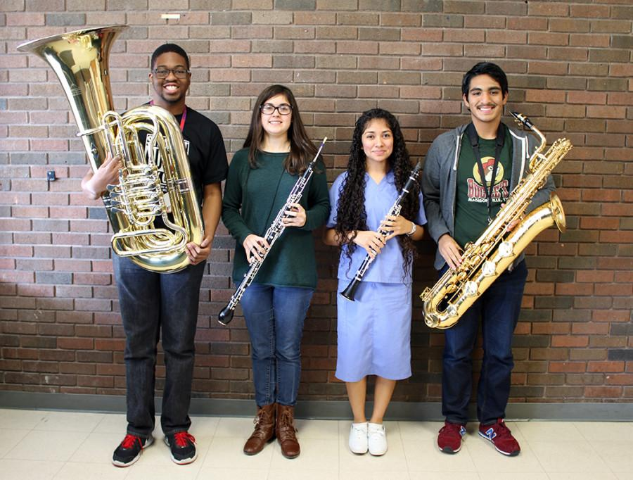 Members+of+the+band+advancing+to+All-State+included%3A+Sharif+Long+on+Tuba%2C+Reed+Guinta%2C+English+Horn%2C+Claudia+Corpeno%2C+B%27+Clarinet+and+John+Cruz+on+the+Baritone+Saxaphone.+%28Taryn+Marceleno+photo%29