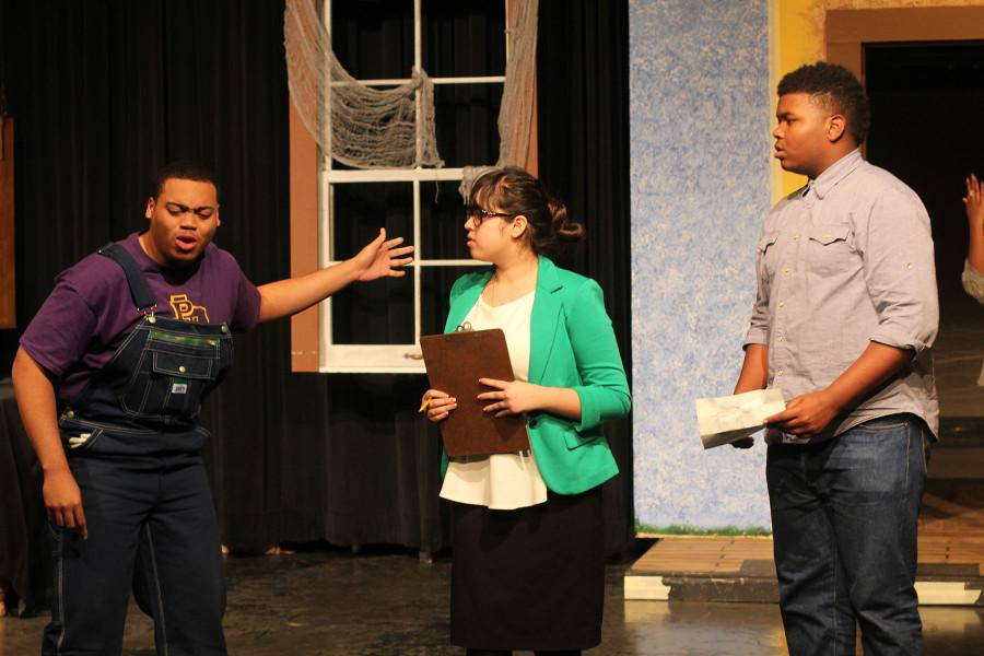 Theatre students act out a scene in Your Guest are Ghost. (Photo by Ruth Thunderhawk)