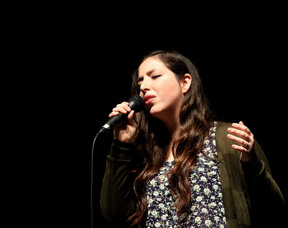Maggie Medina singing in the talent show