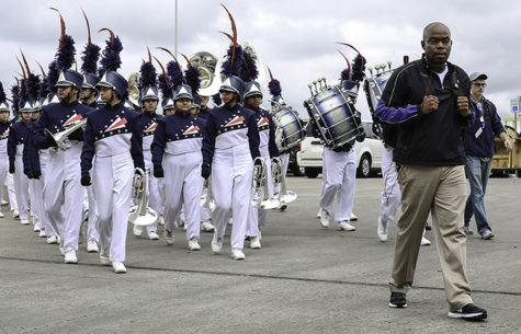 The band prepares to take the field at the Alamodome for state contest. (Alexis Rosebrock photo)