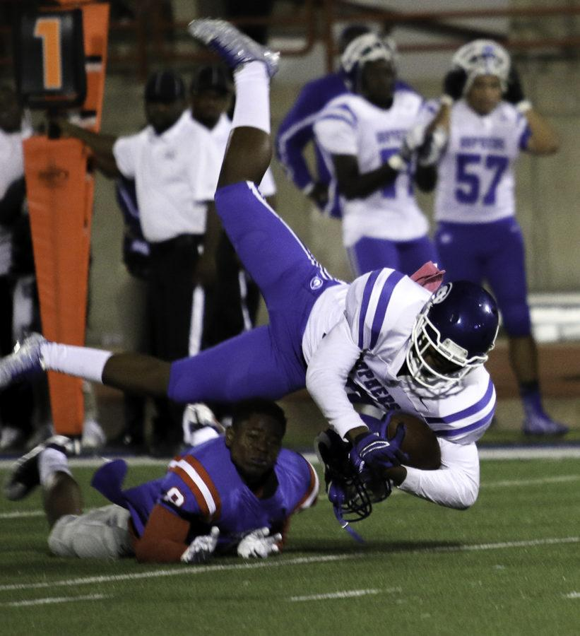 Helmets were flying during the most recent matchup between Duncanville and Grand Prairie since both were looking for a playoff spot. The Panthers came out on top and moved to the playoffs. (Reece Rodriguez photo)