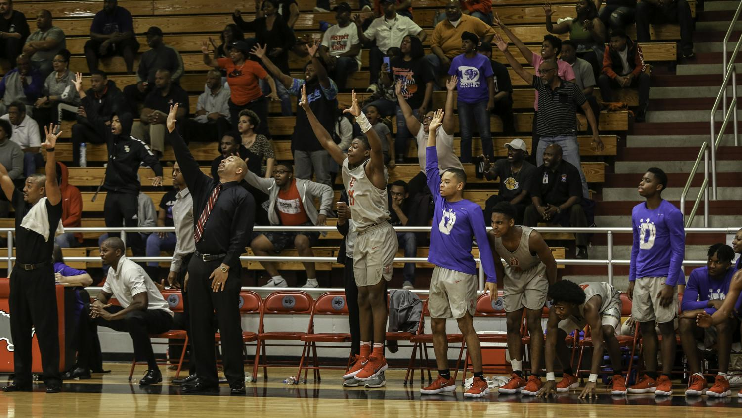 The bench erupts as the Panthers look to put the finishing touches on a tough Killeen Showmaker team in the first round of the State playoffs. (Brenda Arana Photo)