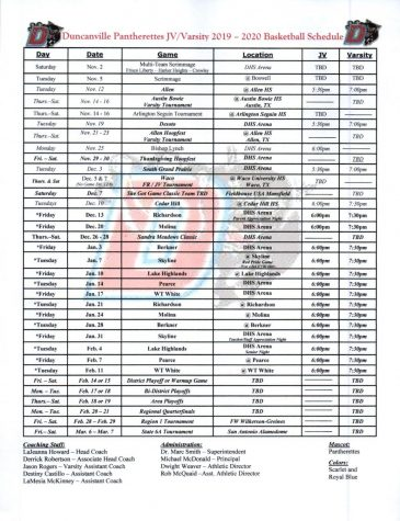 Girls Varsity Basketball Schedule